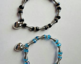 Black and teal with silver heart charm bracelet set.