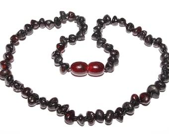 Genuine Baltic Amber Baby Teething Necklace Black