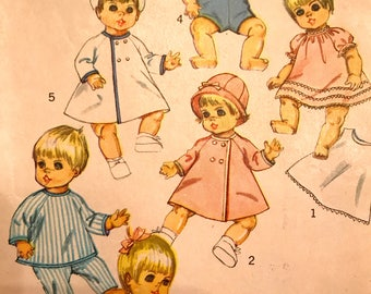 RARE 1960's Doll Wardrobe Pattern---Simplicity 7931---Sized for 9 Inch Doll,  Partially Cut