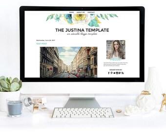 Blogger Template - Justina, Blog Design Template, Blogger Theme, Mobile Responsive, Black, Blue Yellow Green Floral, Flowers, Feminine