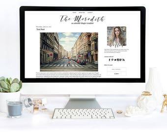 Blogger Template - Meredith, Blog Design Template, Blogger Theme, Mobile Responsive, Black and White, Clean, Modern, Minimalist, Minimal