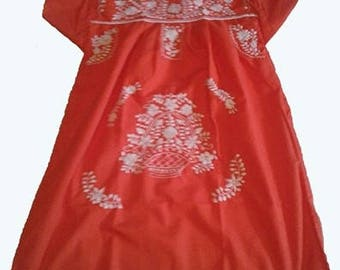 Small - Orange (Short / Above Knee) Mexican Dress #S101
