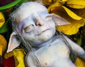 Tearlach Macshim the Sleepy House Brounie - goblin, faerie, brownie, fairy, folklore, spirit, mythical, art doll, creature, folklore