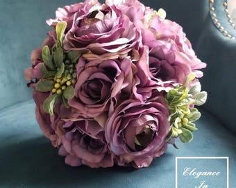 Purple Botanical Bridal Bouquet, Wedding Bouquet