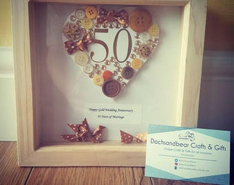 Gold 50th Wedding Anniversary Box Frame Gift, 50th wedding anniversary, congratulations