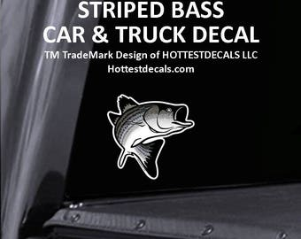 Striped Bass Fish Decal Car Sticker Outdoor Use Vinyl Boat Truck Trailer Decal