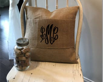 Burlap Pillow Wrap, Personalized Wedding Gift, Jute Pillow wrap, Burlap Pillow, Farmhouse decor, Farmhouse Pillow, Anniversary Gift