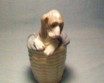 Lladro Basset Puppy In A Basket