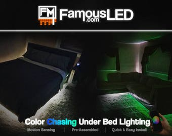 Night Light Bed Smart LED || Moving Lights 16 Million Colors + White || Bluetooth & RF Remote Control || Motion Sensor