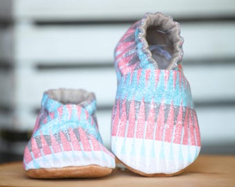 Peachy Tribal Crib Shoes, Baby Booties, Baby Shower