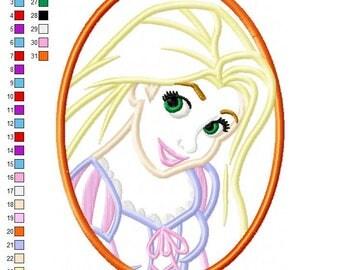 Rapunzel Cameo Applique Embroidery Design - INSTANT DOWNLOAD
