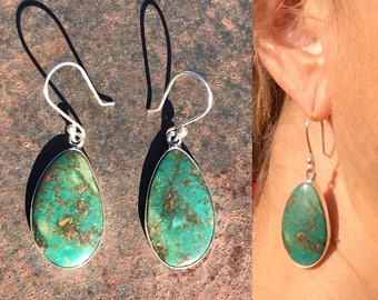 Vintage Native American Jewelry, Turquoise Dangle Earrings, Navajo Earrings, Green Turquoise Sterling Earrings, Southwestern Earrings, Boho