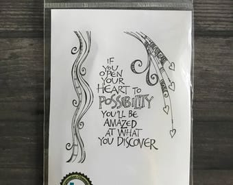 Impression Obsession Whimsical Quote Rubber Cling Stamp