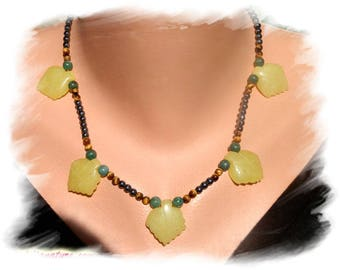 HEMATITE, Tiger Eye necklace, JADE and Sterling Silver 925