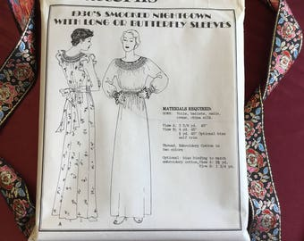 Vintage 1930s Smocked Nightgown Pattern (Uncut)