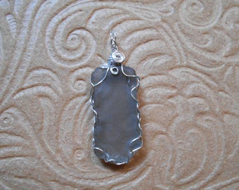 Grey Beach Glass Wire Wrap Pendant