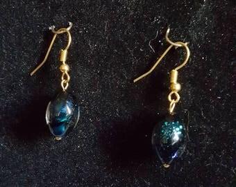 Blue Opalescent Drop Earrings