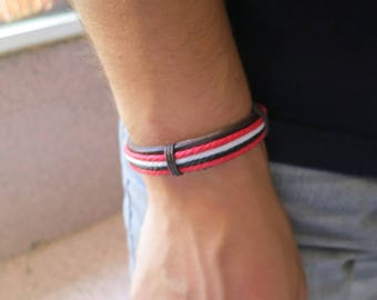 PU leather bracelet for man, red, black and white, 55 mm