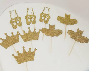 Ballerina Golden Cupcake Toppers Double Sided Ballet Birthday Party Cupcakes Golden Cake Ideas