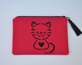 Pouch / bag cat in red cotton with leather tassel