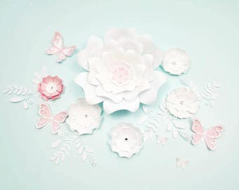Paper flowers wall decor. Large paper flowers wall decor. Nursery flowers wall. Wedding backdrop. Baby shower backdrop. Girls room decor.