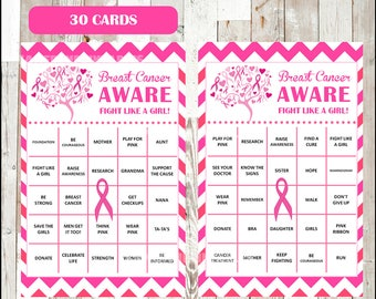 50% OFF Breast Cancer Awareness Month Bingo Cards - Printable Pink Ribbon Event Activity - 30 different Cards - Instant Download