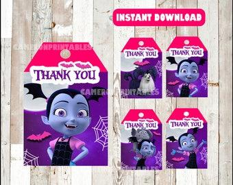 Vampirina Thank you Tags instant download , Vampirina Thank you Tags, Printable Vampirina party tags