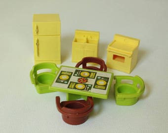 Fisher Price Little People, #729 Play Family House Kitchen set, 1970-1975, Made in U.S.A.