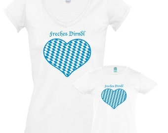 "T-Shirts ""Jaunty Dirndl"" for mother and daughter, set price!"