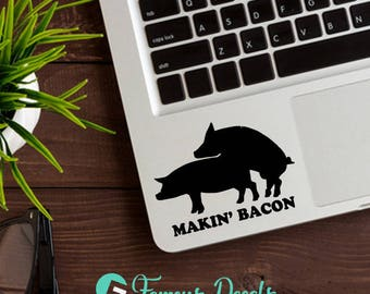 Makin' Bacon Decal, JDM Decal, Funny Stickers, Pig Decal, Pigs Stickers, Funny Pig Decal, JDM Stickers, Racing Decals, Bacon Decals, Pigs