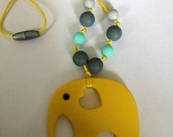 Yellow Elephant Nursing/ Teething Necklace