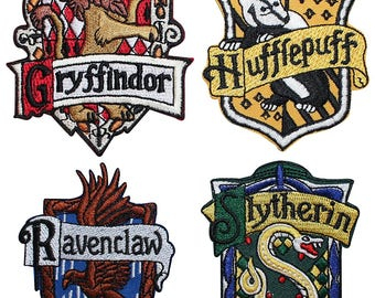 """FREE SHIPPING-Domestic-InspireMeByAudrey Harry Potter Set of Four House Crests Embroidered Sew/Iron-on Patch/Applique 4"""" x 3"""""""