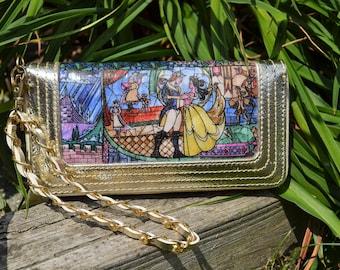 Beauty & Beast Stained Glass Wallet / Wristlet