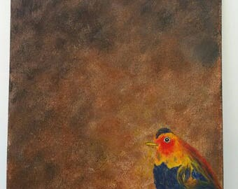 Hope: colorful acrylic bird painting light feathers joy charity brown art