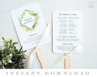 Wedding Fan Template, Order of Service, Program Fan Template, Ceremony Schedule, Ceremony Program, Wedding Program, Program Template #GGD