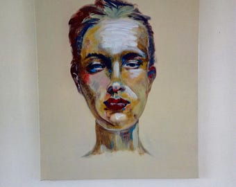 Original abstract acrylic portrait of young woman