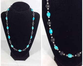 Handmade Southwest Inspired Turquoise and Black Druzy Beaded Necklace