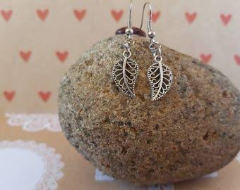 Silver leaf pendant earrings