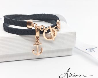 Wrap Leather bracelet with anchor
