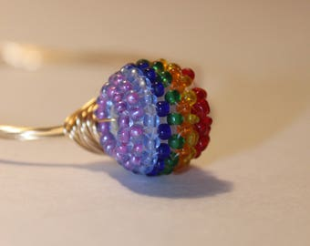 Gold Wire Bangle with Rainbow Bead