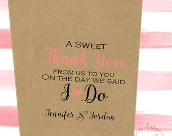 A Sweet Thank You, Favor Bags, Popcorn Bags, Candy Buffet Bags, Cookie Bags, Wedding Favors, RD048