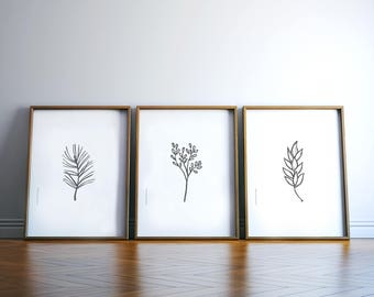 living room art decor. Prints Set  Botanical Living Room Wall Art Leaf Print Plant room wall art Etsy