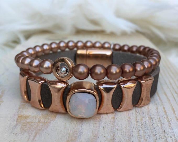 Free Shipping within NL Braceletset of 2 bracelets bracelet natural stone gemstone rose gold