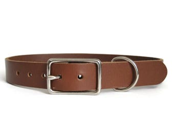 """Brown Leather Dog Collar 1"""" Wide for Medium & Large Dogs Handmade in USA"""