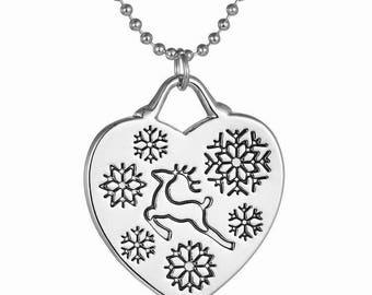 Heart pendant with snowflake and Christmas deer