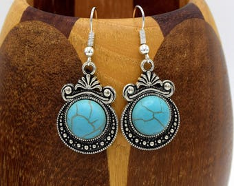 Earrings turquoise cabochon Earrings with turquoise and round cabochon pendant antique silver pendant