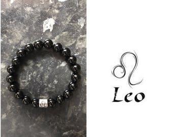 Black Onyx Leo Birthstone Bracelet With Zodiac Charm