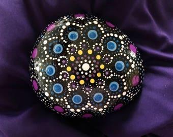 Medium, Mandala stone, mandala rock, painted stone, painted rock, meditation stone, serenity rock, dot art, flower, purple, blue, yellow,