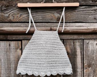 Crop top grey crocheted to order