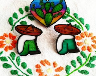 Handmade and handpainted Mexican inspired pins
